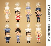 chefs with icons set. in the... | Shutterstock .eps vector #193504625