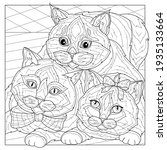 cats.coloring book antistress... | Shutterstock .eps vector #1935133664