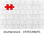 Small photo of White jigsaw puzzle pattern red piece solution White jigsaw puzzle pattern isolated front image top view to express alliance union team working solution success problem