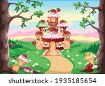 a candy land with a sweet... | Shutterstock .eps vector #1935185654