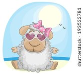 greeting card sheep on the sea | Shutterstock .eps vector #193522781