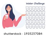 30 day water challenge. young...   Shutterstock .eps vector #1935257084