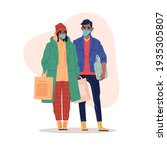 shopping in mask. couple in...   Shutterstock .eps vector #1935305807
