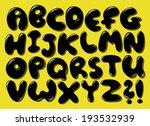 black bubble alphabet set | Shutterstock .eps vector #193532939
