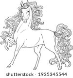 curly horse. coloring book.... | Shutterstock .eps vector #1935345544