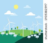 wind turbines ecology on nature ...   Shutterstock .eps vector #1935382597