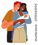mom and dad looking at newborn... | Shutterstock .eps vector #1935442924