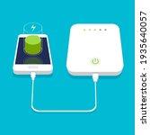 low battery. 3d smartphone... | Shutterstock .eps vector #1935640057