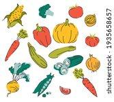 bundle of fresh delicious vegan ... | Shutterstock .eps vector #1935658657
