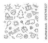set of children drawings. hand... | Shutterstock .eps vector #1935749227