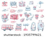 watercolor hand drawn blue and...   Shutterstock . vector #1935799621