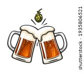 two toasting beer mugs and hop... | Shutterstock .eps vector #1935806521