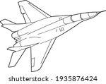 jet fighter  line vector...   Shutterstock .eps vector #1935876424