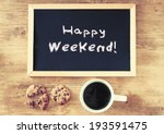 blackboard over wooden table... | Shutterstock . vector #193591475