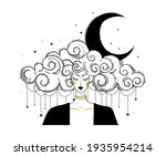 linear boho drawing  woman with ... | Shutterstock .eps vector #1935954214