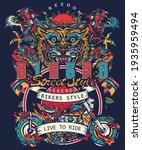 bikers art. tiger and asian... | Shutterstock .eps vector #1935959494