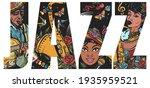jazz slogan. musical legend.... | Shutterstock .eps vector #1935959521