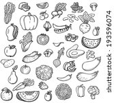 set of vegetables and fruits.... | Shutterstock .eps vector #193596074