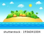 vector island with sea and sun. ... | Shutterstock .eps vector #1936041004