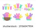 easter peeps. simple rabbit... | Shutterstock .eps vector #1936047904