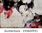 japanese geisha woman with red... | Shutterstock . vector #193604951