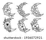 set of floral crescent moon.... | Shutterstock .eps vector #1936072921