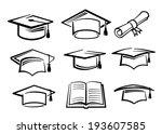 vector black graduating hat... | Shutterstock .eps vector #193607585