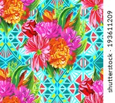 summer flower pattern | Shutterstock .eps vector #193611209