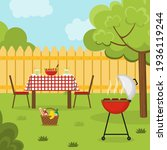 lunch in the backyard. barbecue ... | Shutterstock .eps vector #1936119244