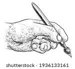a hand holding an artists... | Shutterstock . vector #1936133161