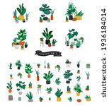 potted plants collection. urban ... | Shutterstock .eps vector #1936184014