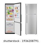 fridge with food. opening... | Shutterstock . vector #1936208791