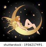 pretty fairy sitting on vintage ... | Shutterstock .eps vector #1936217491