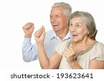 happy older pair on a white... | Shutterstock . vector #193623641