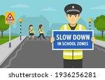 Police Officer Holding Warning...