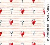 Seamless Watercolor Heart Lock...