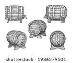 old wooden barrels  set with... | Shutterstock .eps vector #1936279501