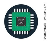cpu chip. icon of microchip....   Shutterstock .eps vector #1936342474