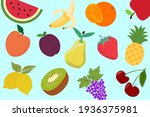 early types of fruit isolated... | Shutterstock . vector #1936375981