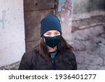 Portrait Of A Tween Girl Outside Wearing mask