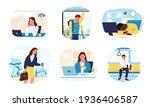 tired people. cartoon sleepy... | Shutterstock .eps vector #1936406587