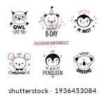 doodle animals vector set. owl  ... | Shutterstock .eps vector #1936453084