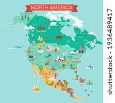 north america map. tourist and... | Shutterstock .eps vector #1936489417