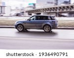 Small photo of Moscow, Russia - 03.03.2021: LAND ROVER RANGE ROVER Sport in the motion on the highway. SUV car drive on asphalt city road. Unacceptable speeding in the city concept