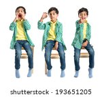 boys making a ok sign  shouting ... | Shutterstock . vector #193651205
