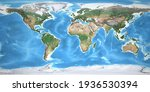 Physical Map Of The World  With ...