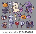 set of halloween themed... | Shutterstock .eps vector #1936594981