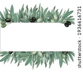 watercolor frame with olive...   Shutterstock . vector #1936616731