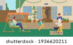 family having grill party in...   Shutterstock .eps vector #1936620211