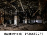Burnt And Ruined Interior Of...